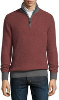 Neiman Marcus Textured Cashmere Quarter-Zip Sweater