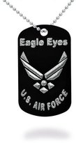 "Kriskate & Co. U.S. Air Force Logo ""Eagle Eyes"" Aluminum Dog Tag Necklace 24 Inches Made in USA"