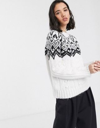 Only cable knit jumper with fairisle detail in white-Multi