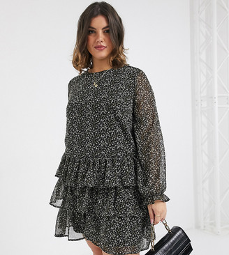 Vero Moda Curve ruffle smock mini dress in ditsy smudge print-Black