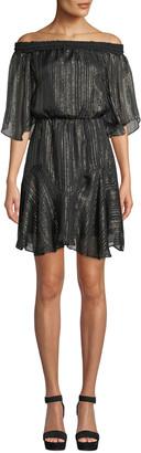 Halston Smocked Off-the-Shoulder Metallic Chiffon Dress