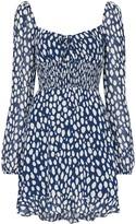 Reformation Rue shirred leopard-print mini dress