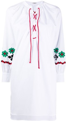 Miu Miu drawstring floral embroidered tunic