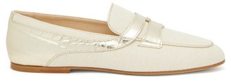 Tod's Croc-effect Panel Canvas Loafers - Cream Gold