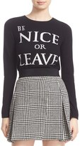 Alice + Olivia Women's 'Be Nice Or Leave' Embellished Wool Crewneck Sweater