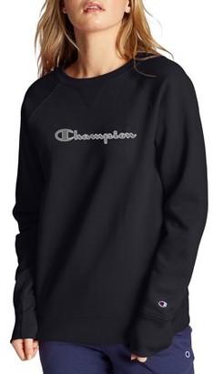 Champion Women's Powerblend Fleece Boyfriend Crew Neck Sweatshirt -Applique