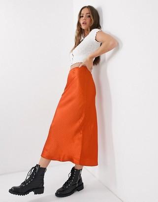 Qed London satin jacquard midi skirt in rust