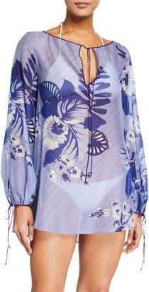 Etro Jasine Cotton-Silk Kaftan Coverup Top