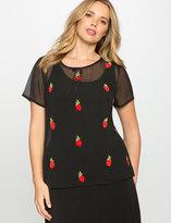ELOQUII Plus Size Studio Strawberry Embellished Blouse