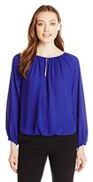 Vince Camuto Women's L/s Shirred Neck Peasant Blouse