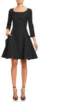Carolina Herrera 3/4-Sleeve Large-Pocket Fit-&-Flare Dress, Black