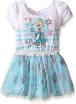 Disney Little Girls' Toddler Frozen Dress with Glitter Tulle and Bow