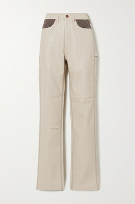 ANDERSSON BELL Mabel Vegan Leather And Herringbone Wool-blend Straight-leg Pants