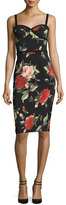 Black Halo Sleeveless Floral Sweetheart Sheath Dress, Petal Pusher