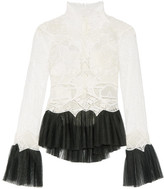 Jonathan Simkhai Tulle-trimmed Guipure Lace Top - White