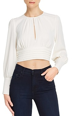 Amanda Uprichard Samira Shirred Keyhole Cropped Top