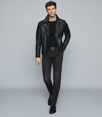 Reiss Arena - Jersey Stretch Slim Fit Jeans in Black