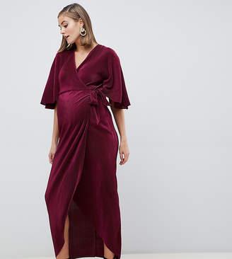 Asos DESIGN Maternity Plisse Wrap Maxi Dress-Red