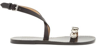 Isabel Marant Eldory Embossed-disc Flat Leather Sandals - Womens - Black Silver