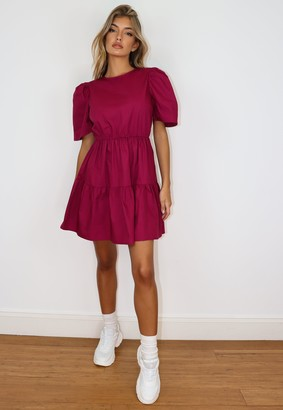 Missguided Petite Burgundy Puff Sleeve Smock Dress
