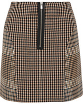 Maje Checked Cotton-blend Mini Skirt - Brown