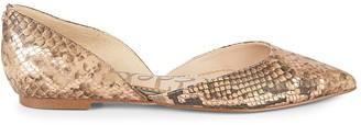 Sam Edelman Rodney Snake-Print Leather Point-Toe Flats