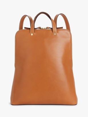 John Lewis & Partners Leather Zipped Backpack