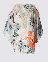Per Una Floral Print Cold Shoulder V-Neck Tunic