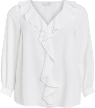 Evans Ivory Frill Long Sleeve Top