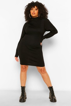 boohoo Plus Long Sleeve Knitted Jumper Dress