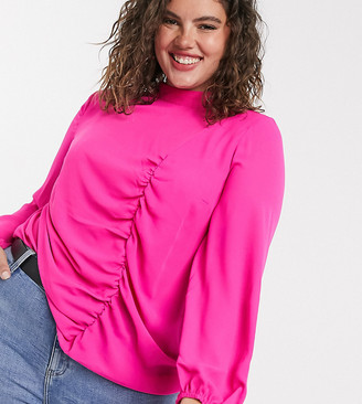Simply Be ruched high neck blouse in pink
