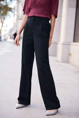 Next Womens Navy Tailored Wide Leg Trousers - Blue