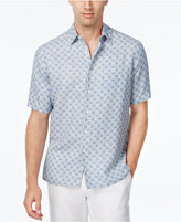 Tasso Elba Men's Big and Tall Silk Linen Tile-Print Short-Sleeve Shirt, Classic Fit