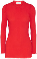 By Malene Birger Rituala Frayed Silk-trimmed Plissé-crepe Top - Papaya