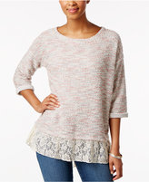 Style&Co. Style & Co Petite Lace-Hem Top, Only at Macy's