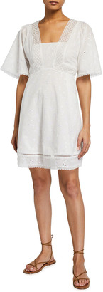 Jonathan Simkhai Kendra Empire-Waist Eyelet Coverup Dress