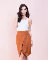 Missy Empire Mariana Rust Suede Cross Wrap Skirt