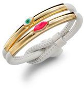 Delfina Delettrez Lips & Eye Leather Corded Bracelet/White