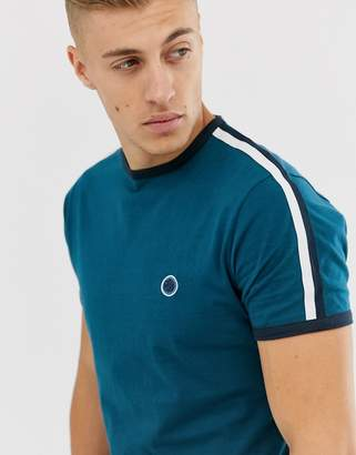 Pretty Green small logo taped sleeve t-shirt in teal-Blue