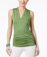 INC International Concepts Ruched V-Neck Top, Only at Macy's
