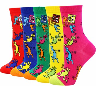 LITTONE Women's Cozy 5 Pairs Cotton Animal Christmas Ankle Socks (GRF-5Pairs)