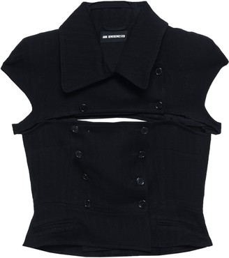 Ann Demeulemeester Cutout Herringbone Wool-blend Felt Jacket