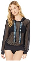 MICHAEL Michael Kors Solid Logo Cover-Up Mesh Hoodie Top (Black) Women's Swimwear