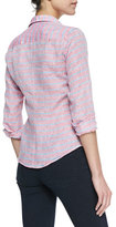 Frank & Eileen Barry Striped Linen Buttoned Blouse, Red/Blue