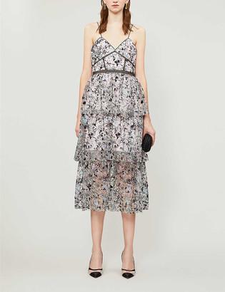 Self-Portrait Constellation embellished and mesh midi dress