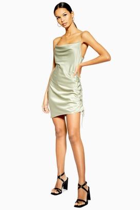 Topshop Womens Khaki Ruched Satin Mini Slip Dress - Khaki