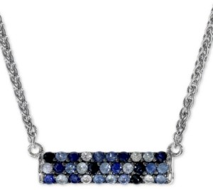 "Effy Sapphire Bar 16"" Pendant Necklace (9/10 ct. t.w.) in Sterling Silver"