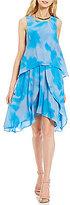 DKNY Printed Layered Chiffon Dress