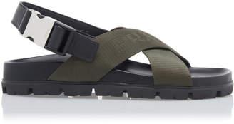 Prada Leather-Trimmed Canvas-Jacquard Sandals Size: 39
