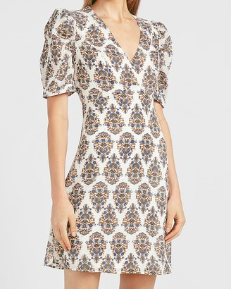 Express Paisley Puff Sleeve Fit And Flare Dress